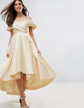 ASOS | Атласное платье миди для выпускного ASOS BRIDAL - Кремовый | Clouty