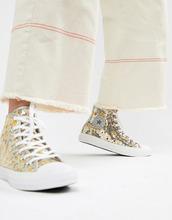 CONVERSE | Серебристо-золотистые высокие кеды с пайетками Converse Chuck Taylor All Star - Мульти | Clouty