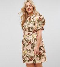 ASOS | Платье мини с тропическим принтом ASOS CURVE - Мульти | Clouty