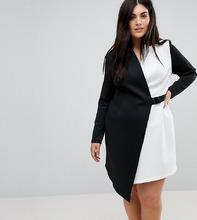ASOS   Платье-блейзер в стиле колор блок с поясом ASOS CURVE - Мульти   Clouty