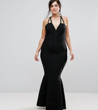 ASOS   Бандажное платье макси ASOS CURVE Premium - Черный   Clouty