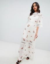 Vila | Платье макси в горошек металлик с кружевной вставкой Vila - Мульти | Clouty
