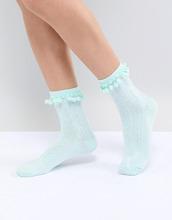 ASOS | Носки мятного цвета с помпонами ASOS DESIGN - Зеленый | Clouty