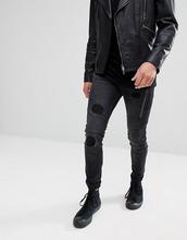 Religion | Джинсы скинни со вставками и рваной отделкой Religion Jeans - Черный | Clouty
