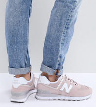 New Balance | Розовые замшевые кроссовки New Balance 574 - Розовый | Clouty
