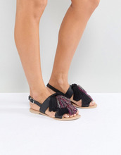 ASOS | Кожаные сандалии с кисточками ASOS FAVOUR - Черный | Clouty