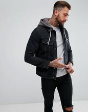 ASOS   Джинсовая куртка с трикотажным капюшоном ASOS DESIGN - Черный   Clouty