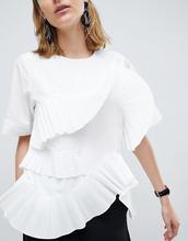 ASOS | Топ с плиссированными оборками ASOS WHITE - Белый | Clouty