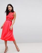 ASOS   Платье миди с кружевной отделкой и плиссированной юбкой ASOS   Clouty