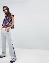 TOMMY HILFIGER   Спортивные штаны клеш с полосатым поясом и молниями Gigi Hadid - Серый   Clouty