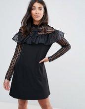 Amy Lynn | Платье А-силуэта с длинными рукавами из сетки в горошек и оборкой Amy | Clouty