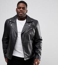 ASOS | Черная кожаная байкерская куртка ASOS DESIGN Plus - Черный | Clouty