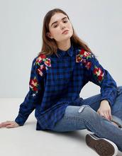 ASOS | Oversize-рубашка бойфренда в клетку с вышивкой ASOS - Мульти | Clouty