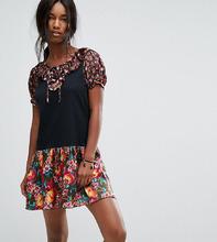 Anna Sui | Трикотажное платье с контрастной цветочной отделкой Anna Sui - Мульти | Clouty