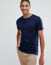 Selected Homme   Футболка в полоску с контрастным карманом Selected Homme - Темно-синий   Clouty