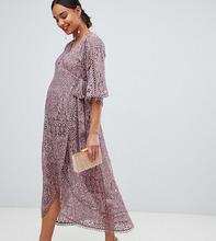 ASOS | Кружевное платье миди с запахом ASOS DESIGN Maternity - Розовый | Clouty