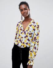 Vila | Рубашка без воротника с принтом Vila - Синий | Clouty