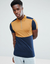 ASOS | Обтягивающая футболка-поло в стиле колор блок с молнией ASOS - Бежевый | Clouty