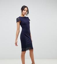 Paper Dolls | Темно-синее платье миди с кружевом Paper Dolls Tall - Темно-синий | Clouty
