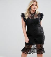 Club L | Кружевное платье миди с расклешенными рукавами Club L Plus - Черный | Clouty