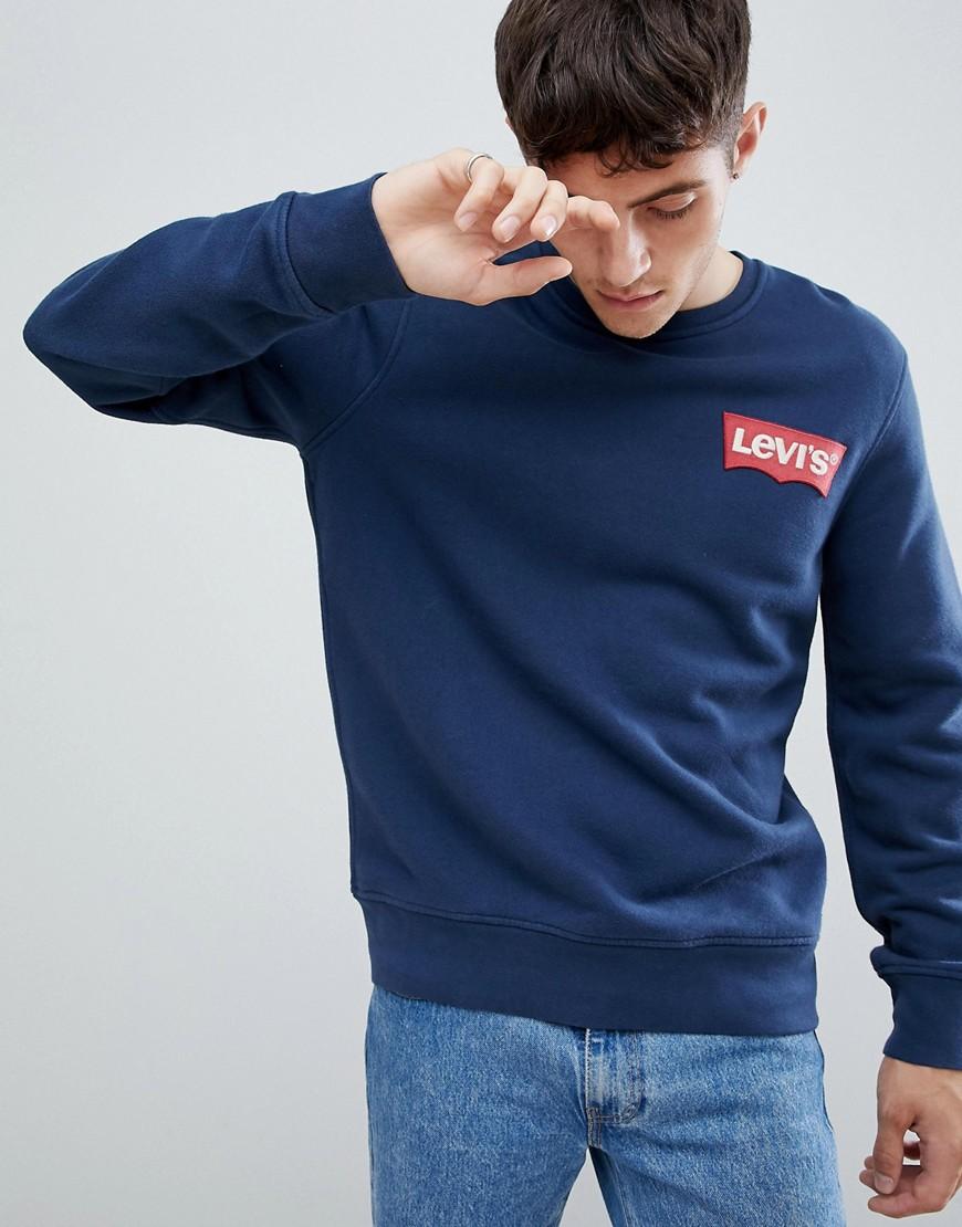 Levi's | Синий свитшот с большим логотипом на груди Levi's - | Clouty