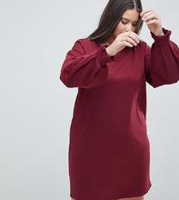 ASOS | Трикотажное платье с плиссированными манжетами ASOS DESIGN Curve - Розовый | Clouty