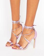 True Decadence | Розовые босоножки металлик на каблуке с завязкой True Decadence | Clouty