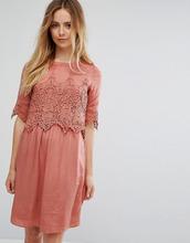 Vila | Платье с кружевным верхним слоем Vila - Розовый | Clouty