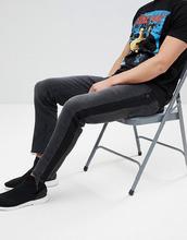 ASOS   Черные выбеленные джинсы слим с полосками по бокам ASOS - Черный   Clouty