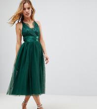 ASOS | Платье для выпускного миди с ленточным поясом и кружевным топом ASOS P | Clouty