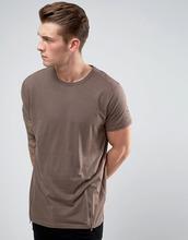 Brave Soul   Удлиненная футболка c молниями по бокам Brave Soul - Коричневый   Clouty