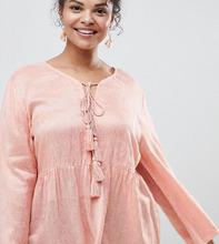 Glamorous | Блузка с цветочным рисунком, завязкой с кисточками и оборкой Glamorous Curve - Розовый | Clouty