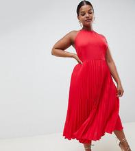 ASOS | Платье миди с плиссировкой и оборками ASOS DESIGN Curve - Красный | Clouty
