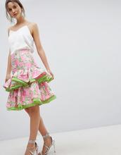 ASOS | Жаккардовая юбка миди с цветочным узором и оборками ASOS DESIGN | Clouty