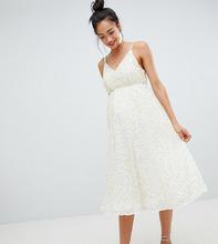 ASOS | Платье миди с пайетками, глубоким вырезом и пышной юбкой ASOS DESIGN M | Clouty