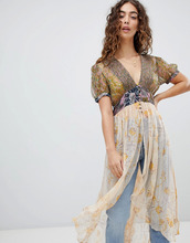 Free People | Туника с принтом Free People Daisy Fields - Белый | Clouty