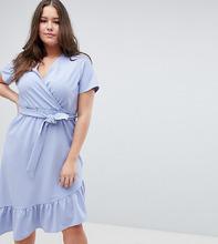 ASOS | Платье миди с поясом и оборкой ASOS DESIGN Curve - Синий | Clouty