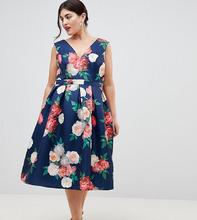 Chi Chi London   Платье миди с принтом Chi Chi London Plus - Мульти   Clouty