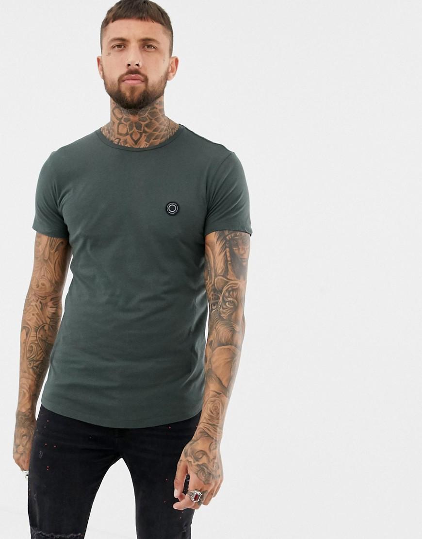 Religion | Темно-серая обтягивающая футболка с закругленным краем Religion - Серый | Clouty