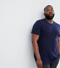 ASOS   Удлиненная футболка с круглым вырезом ASOS DESIGN Plus - Темно-синий   Clouty