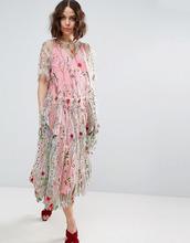 ASOS | Свободное удлиненное платье миди с вышивкой ASOS SALON - Мульти | Clouty