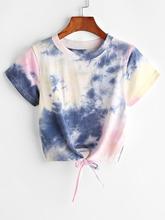 Shein | Tie Dye Knot Front Crop Tee | Clouty