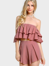 Shein | Layered Flounce Bardot Top And Shorts Co-Ord | Clouty