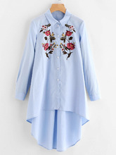 Shein | Flower Embroidered Dip Hem Longline Shirt | Clouty