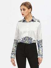 Shein | Aztec Print Point Collar Shirt | Clouty