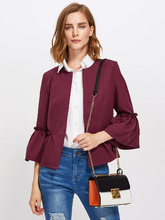 Shein | Frilled Bell Sleeve And Hem Open Front Blazer | Clouty