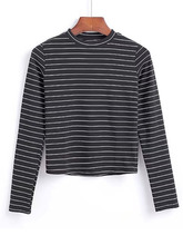 Shein | Crew Neck Contrast Striped Tee | Clouty