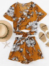 Shein | Allover Florals Crisscross Tie Detail Top With Shorts | Clouty