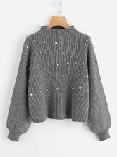 Shein | Pearl Beaded Rib Knit Jumper | Clouty