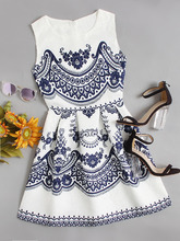 Shein | Porcelain Print Embossed Fit & Flare Dress | Clouty